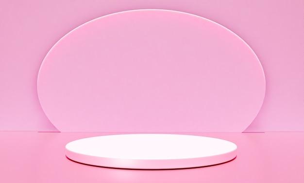 Scena z podium w kolorze różowym do prezentacji makiety w stylu minimalizmu z przestrzenią do kopiowania, 3d renderowania abstrakcyjnego projektu tła
