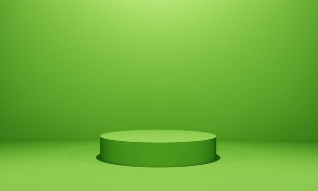 Scena z podium w kolorze zielonym do prezentacji makiety w stylu minimalizmu z przestrzenią do kopiowania, 3d renderowania abstrakcyjnego projektu tła