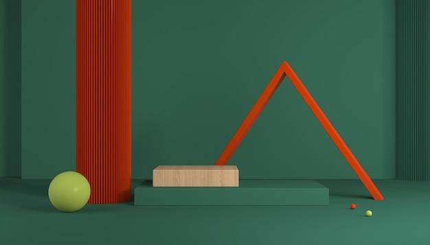 Scenariusz ze schodami i geometrycznymi kształtami na wystawę