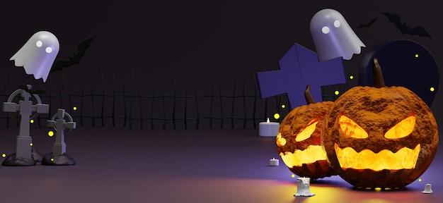 Scence halloween z pustym miejscem na zaproszenie na przyjęcie, media społecznościowe i makietę.