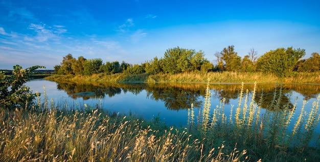 Sceneria dużego, cichego jeziora ze spokojną, chłodną wodą w letni dzień