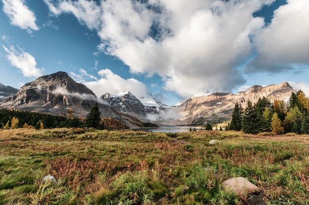 Sceneria góra assiniboine z jeziornym magog i niebieskim niebem w jesień lesie na prowincjonału parku przy kolumbiami brytyjska