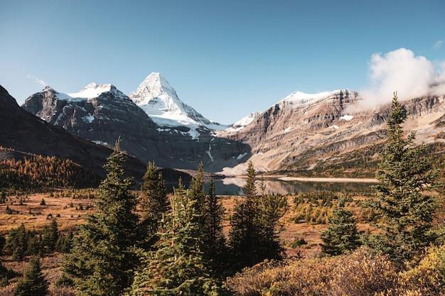 Sceneria góry assiniboine z jeziorem magog i błękitne niebo w lesie jesienią w prowincjonalnym parku w kolumbii brytyjskiej