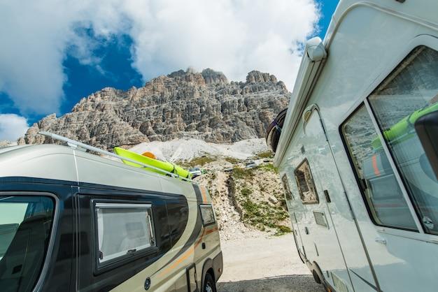 Scenic camping camper vans