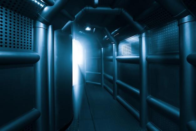 Sceny science-fiction, kanały metalowe w statku kosmicznym