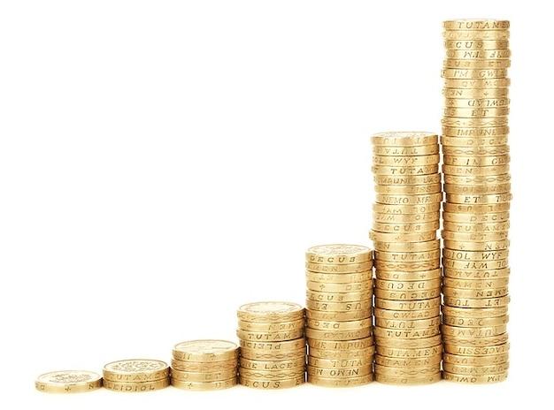 Schemat biznes monety wykres słupkowy osiągnięć gotówkowy