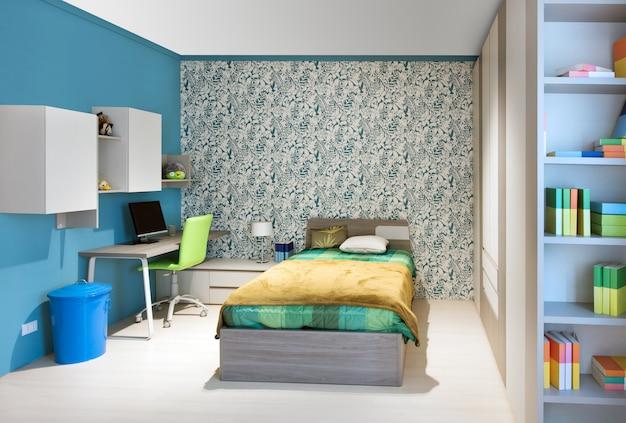 Schludna sypialnia nastolatków z niebieskim wystrojem
