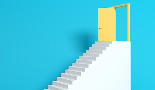 Schody i pomarańczowe drzwi