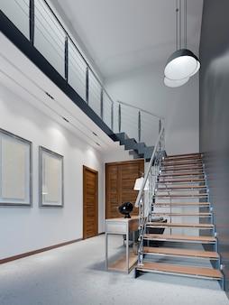 Schody na drugie piętro w nowoczesnym mieszkaniu z metalowymi balustradami i drewnianymi schodami z dużymi lampami wiszącymi, czarno-biały design. renderowania 3d.