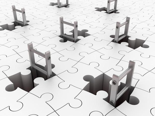 Schody na puzzle otworach