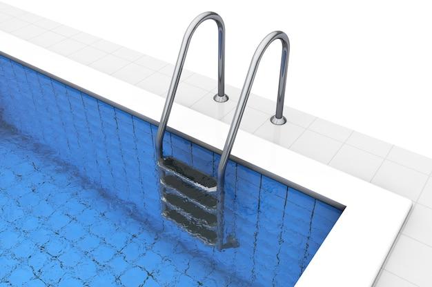 Schody pustego basenu na białym tle
