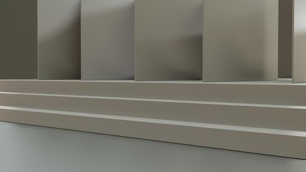 Schody w renderowaniu 3d z drzwiami