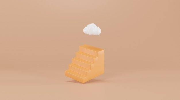 Schody z chmurą na górze. renderowanie 3d. koncepcja kreatywna sukcesu.