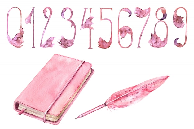 School girls pink supplies watercolor set