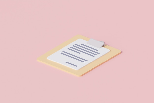 Schowek z dokumentem papierowym pojedynczy izolowany obiekt. renderowanie 3d