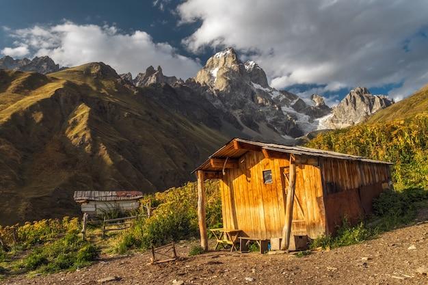 Schronienie domu drewnianego w górach i na łąkach
