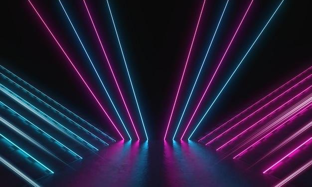 Sci fi futurystyczny neon laserowy led świecący nowoczesny pusty ciemny żywy niebieski różowy pokój klubowy z tunelem. ilustracja renderowania 3d