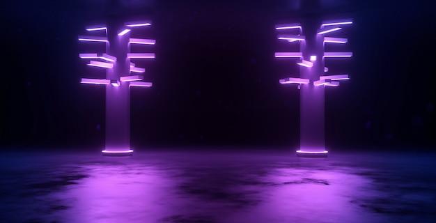 Sci fi neon cyber futurystyczny nowoczesny klub tańca retro świecące fioletowe różowe niebieskie światła w ciemności 3d