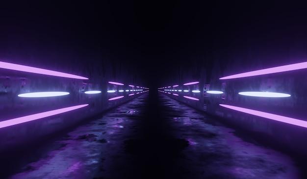 Sci fi technologia tunelu tło z fioletowym neonem retro.