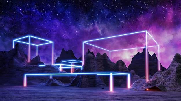 Sci fi wirtualna rzeczywistość krajobraz cyberpunkowy render 3d, wszechświat fantasy i kosmiczna chmura w tle