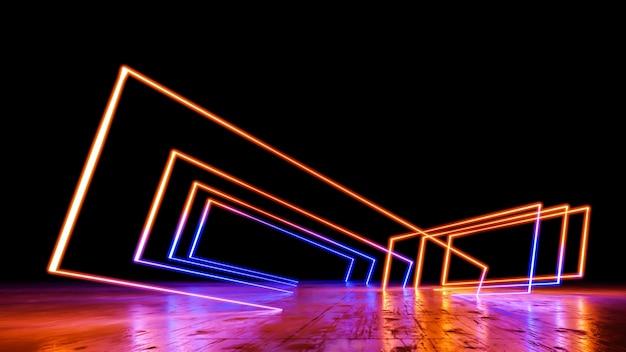 Sci-fi wirtualna rzeczywistość krajobraz w stylu cyberpunk renderowania 3d, wszechświat fantasy i tło kosmiczne