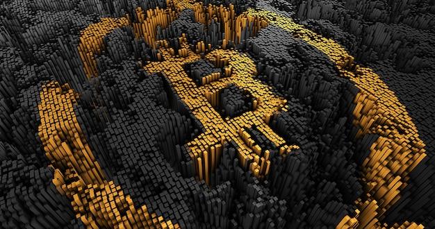 Ściana abstrakcyjne bitcoiny z wielu kwadratów