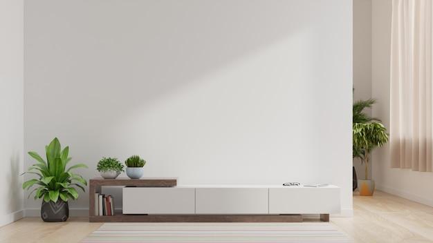 Ściana do telewizora w salonie, białe ściany.