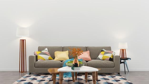 Ściana drewniana podłoga wnętrze kanapa krzesło lampa wnętrze 3d salon