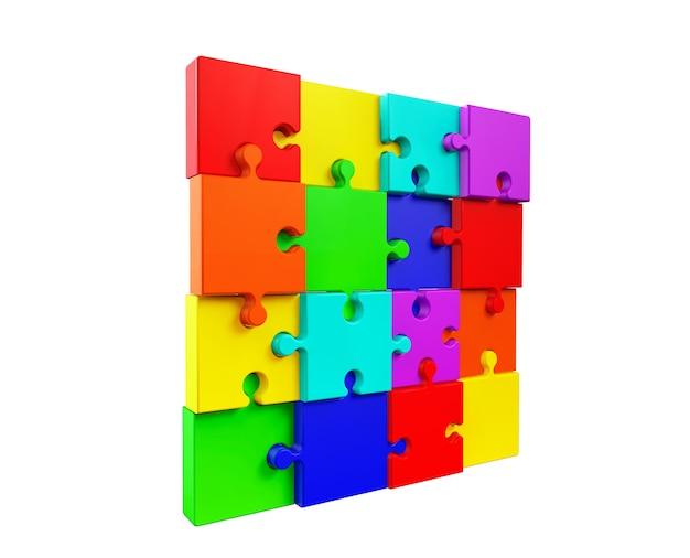 Ściana kolorowych puzzli na białym tle