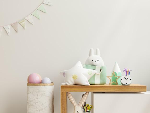 Ściana makiety w pokoju dziecięcym na drewnianej półce, renderowanie 3d