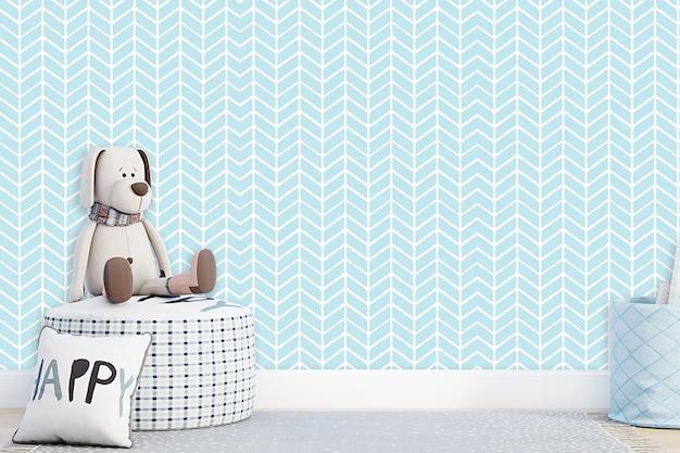 Ściana makiety w pokoju dziecięcym na ścianie w kolorach niebieskiej ściany