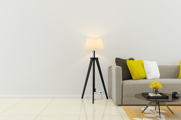 Ściana marmurowa podłoga wnętrze kanapa krzesło lampa wnętrze 3d salon