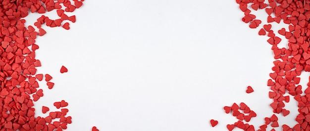 Ściana Na Walentynki Z Małymi Serduszkami I Miejscem Na Kopię Premium Zdjęcia
