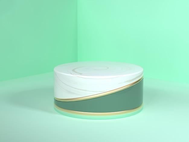 Ściana podłoga narożnik zielona scena renderowania 3d streszczenie złoty biały marmur puste podium koło białe złoto zielony