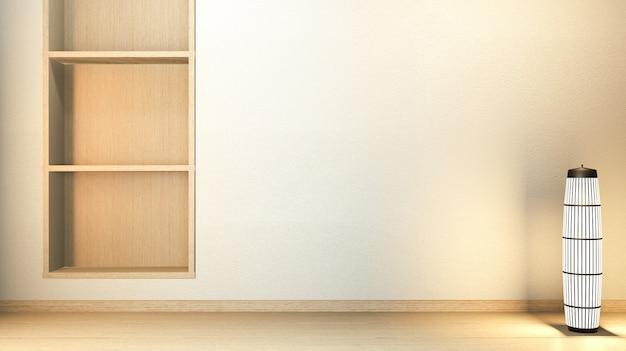 Ściana półki w nowoczesnym pustym pokoju w stylu japońskim - zen, minimalne wzory. renderowanie 3d