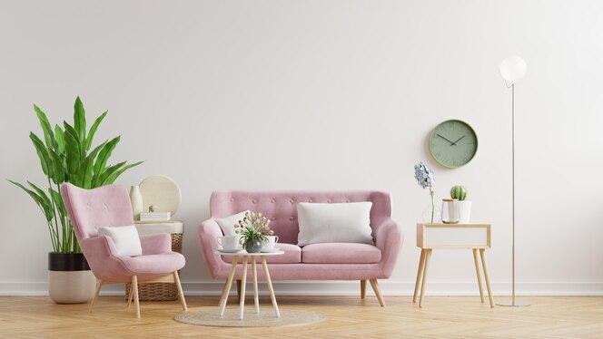Ściana salonu w jasnych kolorach z sofą i lampą z białą ścianą