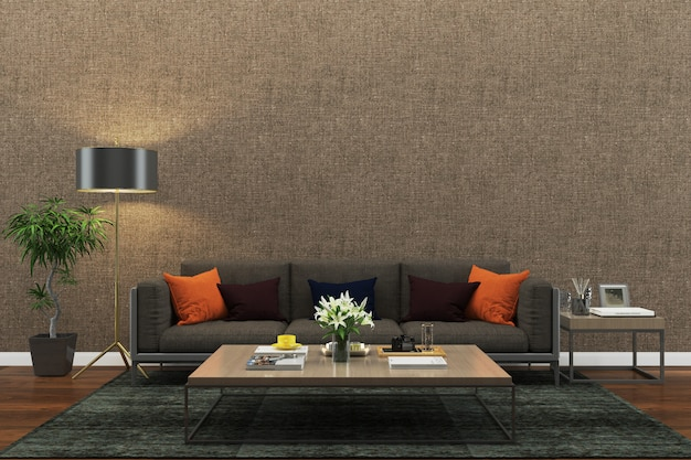 Ściana tekstury tło drewno marmurowa podłoga sofa krzesło lampa wnętrze vintage nowoczesnym
