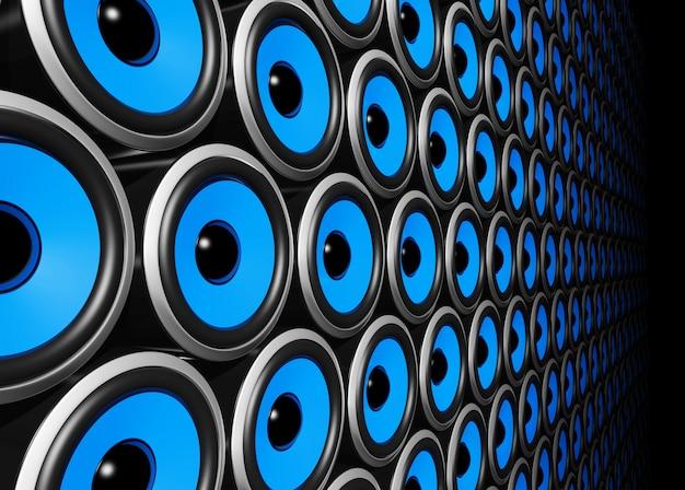 Ściana trójwymiarowych głośników niebieskich