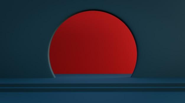 Ściana w kolorze niebieskim pruskim z okrągłymi drzwiami z czerwoną ścianą wewnątrz. fotorealistyczne renderowanie 3d.