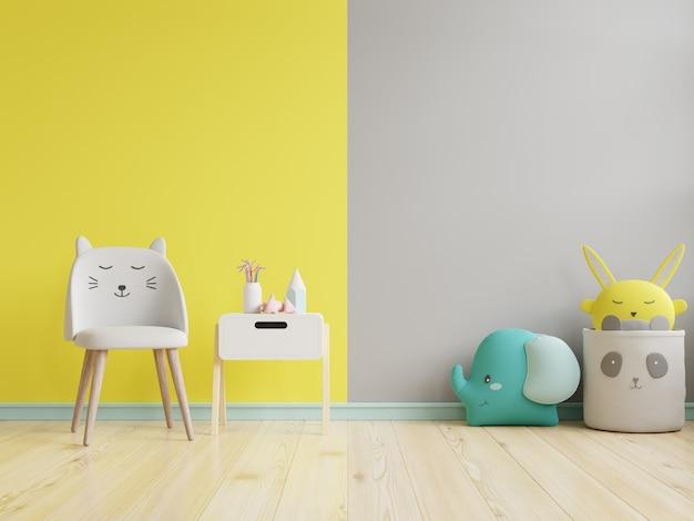 Ściana w pokoju dziecięcym na żółtym oświetleniu i ostatecznej szarej ścianie. renderowanie 3d