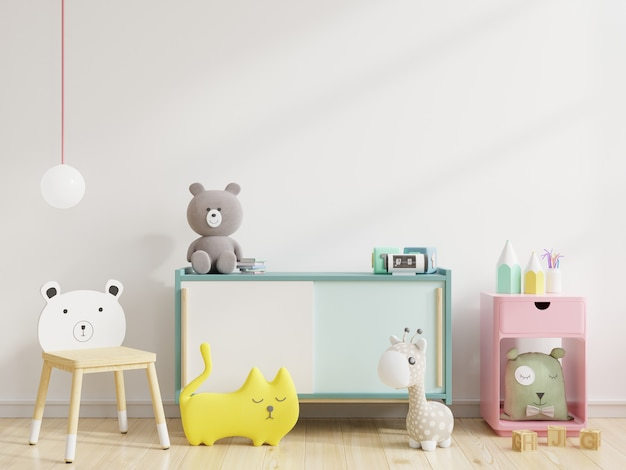 Ściana w pokoju dziecięcym w białej ścianie. renderowanie 3d