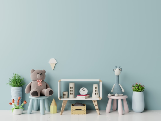 Ściana w pokoju dziecięcym w niebieskiej ścianie