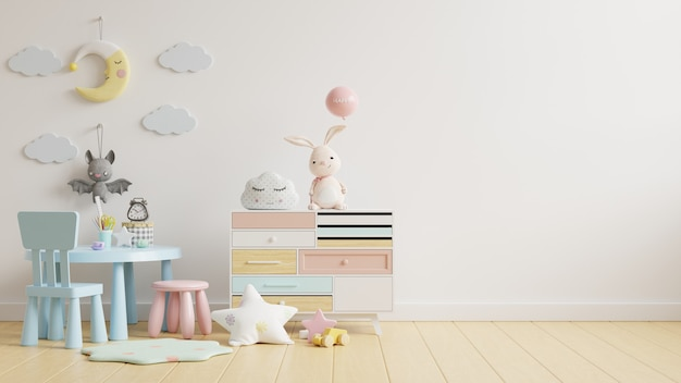 Ściana w pokoju dziecięcym ze stolikiem dziecięcym w jasnobiałej ścianie, renderowanie 3d