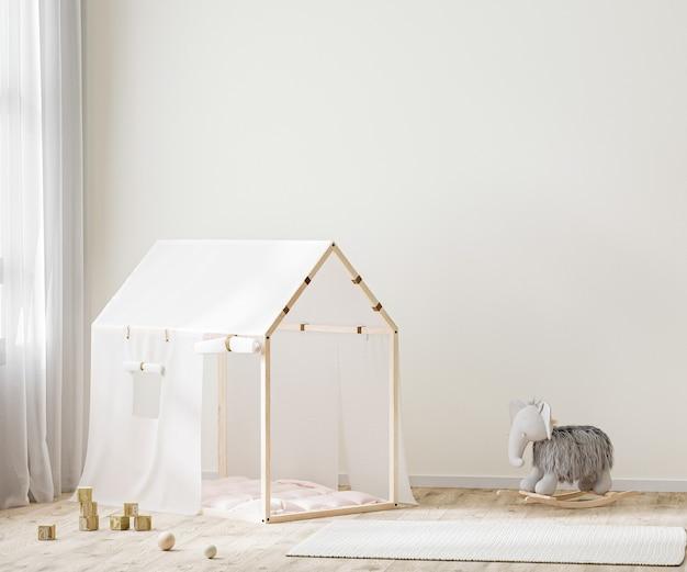 Ściana we wnętrzu pokoju dziecięcego, pokój dziecięcy z namiotem i zabawkami renderowania 3d