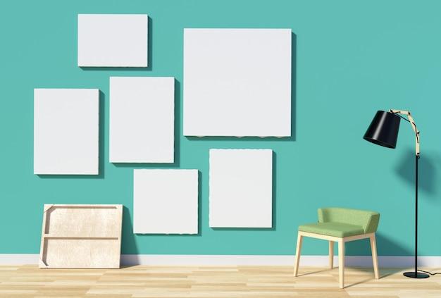 Ściana wewnętrzna pokoju z pustą ramką na zdjęcie lub płótno
