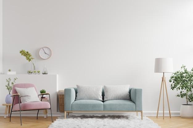 Ściana wewnętrzna salonu ma sofę, fotel i dekorację, renderowanie 3d