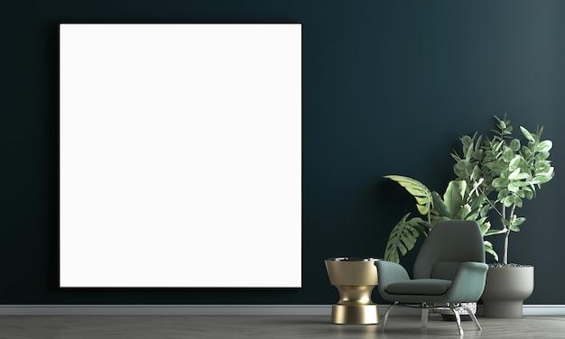 Ściana wewnętrzna salonu makieta w ciepłych neutralnych kolorach z zieloną sofą, nowoczesna, przytulna dekoracja w stylu i płócienna ramka na niebieskim tle ściany