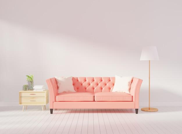 Ściana wewnętrzna salonu makieta z różową, tuftowaną sofą