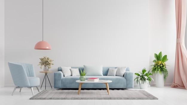 Ściana wewnętrzna salonu w jasnych kolorach z sofą i lampą z białą ścianą. renderowanie 3d