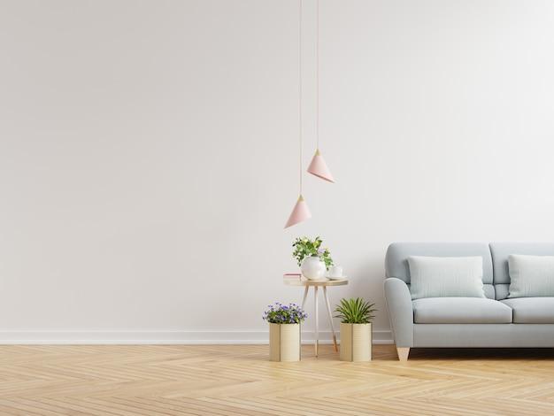 Ściana wewnętrzna salonu z sofą i dekoracją, renderowanie 3d